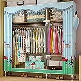 JLKDF Leinwand Kleiderschrank mit Reißverschluss Schlafzimmer Wohnzimmer Schlafsaal Kleidung Schuhe Bettdecke Schrank Klappschrank Tragbar Staubdicht-Britisch Style_126 * 46 * 173Cm