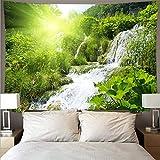 Berg rollender Wald Wasserfall See Landschaft Wandteppich Kunst psychedelische Wandbehang hängende Stoffdecke A2 130x150cm