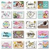 Domelo Geburtstagskarten 20er Set mit Umschlag, Happy Birthday Postkarten, Kraftpapier Karten zum Geburtstag, Geburtstagskarte für Mann/ Frau/ Kinder, Postkarte als Grußkarten (Set 2)