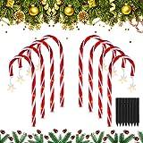 Merisny 8 Stück Solar Lichterkette, 48 Leds Weihnachten Zuckerstangen Einstelllichter, 8 Arbeitsmodi, IP44 Wasserdicht, LED Pfadmarkierungsleuchten für Dekoration, Gehweg, Terrasse, Hof, Rasen