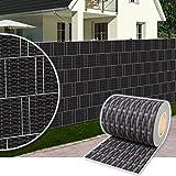 Plantiflex Sichtschutz Rolle 35m Blickdicht PVC Zaunfolie Windschutz für Doppelstabmatten Zaun (Rattan-Anthrazit)
