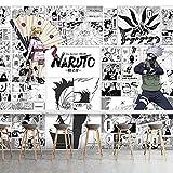 Japanische Schwarzweiss-Manga-Naruto-Plakat-Tapete Obito Kakashi-Hintergrund-Schlafsaal-Schlafzimmer-Tapete 350(L) x245(H) cm