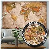 GREAT ART® XXL Poster | Weltkarte Retro Look | Din B0 140 x 100 cm | Wand-Bild Dekoration Plakat Deko | Globus Kontinente Atlas Old School Vintage Map Weltkugel Geografie