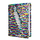 Magic Pailletten Tagebuch wendbar Pailletten Office Notebook Mermaid Notizblock Schule Tagebuch für Mädchen Erwachsene Festival Geburtstag Valentinstag Geschenke (Regenbogen / Silber)