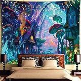 Wandteppich Psychedelic,Wandteppich Trippy,Wandteppich Wald,Wandbehang Wandteppich,Pilz Wandteppich,Wanddekor für Schlafzimmer Wohnzimmer Wohnheim (150x200 cm)