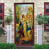 QHOXAI Fototapete Türtapete Selbstklebend 3D Türposter - Abnehmbar Fototapete Türfolie Poster Tapete Klassische Porträts Türaufkleber Für Tür, Wohnzimmer Schlafzimmer Wandbild 85X205Cm