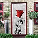 JYXJJKK Türtapete Türposter 3D Tapete PVC Fototapete Einfach rot Rose Blume 88x200 cm für Badezimmer Küche Schlafzimmer Deko Selbstklebende Bild Poster für Tü