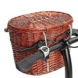 Jtoony Fahrradkörbe, Vintage-Stil, Weidenkorb, Fahrradkorb für Einkaufen, Camping, Haustier, Obst, Fahrradkorb