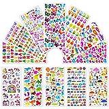 Leenou 3D Aufkleber für Kinder und Kleinkinder, 1000+ Geschwollen Stickers, Niedliche Verschiedene Set Buchstab en,Tier, Zahlen, Schmetterlinge, Einhorn, Dinosaurier und Mehr (18 Bogen)