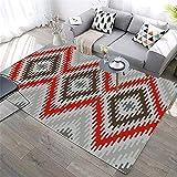 Anpassbar sanft Kinderteppich Rot Wohnzimmer Teppich rote Quadrat geometrische abstrakte weiche Teppich-Anti-Mita prägnant Halls Kinderteppich 50x80cm 1ft 7.7''X2ft 7.5''