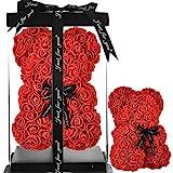 Rosen Teddybär RosenBär Geschenke für Mama Frauentag rosenteddy Mädchen Geschenke Jahrestag Mutter Geschenke ewige Rose Bear Rosen Bär Rosen Teddybär Blume rosenbär - rosenbär mit geschenkbox (rot)