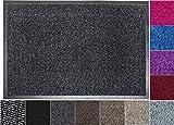 Jan Max Schmutzfangmatte - 5 Größen - Fußmatte für Innen und Außen - Sauberlaufmatte in dunkel grau anthrazit schwarz 40 x 60 cm