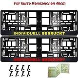 2 Kurze Kennzeichenhalter Carbon | 460 x 110mm | Wunschtext | Logo | Bedruckt