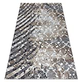 rugsx Modern Teppich Zara für Wohnzimmer, Schlafzimmer, Zwei Ebenen aus Vlies, hohe Qualität, grau/crème 80x150 cm