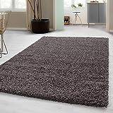 Hochflor Shaggy Teppich für Wohnzimmer Langflor Pflegeleicht Schadsstof geprüft 3 cm Florhöhe Oeko Tex Standarts Teppich, Maße:140x200 cm, Farbe:Taup