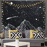 Kuchisity Wandteppich Wandbehang Wandtuch, Star und Berg Kunst Tapisserie, Natur-Landschaft Tapestry Wanddekoration für Schlafzimmer Wohnzimmer Wohnheim, mit 2 LED Lichterkette