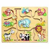Bino & Mertens 88096 Motorikspiel Africa, Spielzeug für Kinder ab 3 Jahre, Kinderspielzeug (Holzspielzeug mit verschiedenen Tiermotiven, Schiebepuzzle zur Förderung der Motorik & Hand-Augen-Koordination), Mehrfarbig