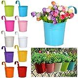 Yaheetech 10X Blumentopf Balkontopf Hängetopf Gartendeko Geländertopf Blumenampel zum aufhängen