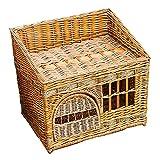 WWQQ Rattan Kaninchenbett Katzenkorb, Haustierbett kleines Hundebett Katzenstreu Vier Jahreszeiten Universal Abnehmbares Katzenbett mit weichem Kissen