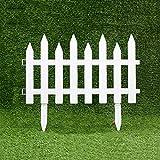 WXQIANG 4 Stück Gartenzaun, Kunststoff dekorative Zäune, Palisade Picket, Rasen, Restholz, Garten Border Edging, 50x30cm, Weiss