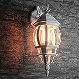Rustikale Wandleuchte für Außen in weiß E27 230V bis 60 Watt Außenleuchte Außenlampe Wandlampe Beleuchtung Hof Garten Terrasse L