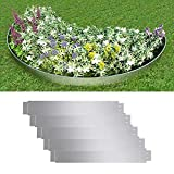 AYNEFY Gartenzaun, 5 Stück, verzinkter Stahl, flexibler Rasenzaun, Metalleinfassung, 100 x 15