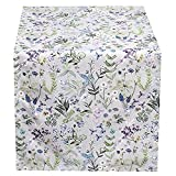 Hossner Heimtex Tischläufer Mitteldecke Kissenhülle Kissenbezug Tischdecke Bunte Wiesenblumen auf grauem Untergrund (Kissenhülle 50 x 50 cm)