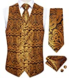 DiBanGu Herren Weste und Krawatte, Paisleymuster, quadratisch, 4 Stück - Gold - M