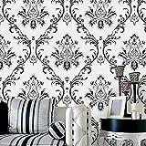 Prior.choice 10 x 0,53 m 3D Vintage Weiß Schwarz Damast Wasserdicht geprägt strukturierte PVC-Tapete Rolle für Schlafzimmer Wohnzimmer 3 m B x 100 cm L = 5,3 m²