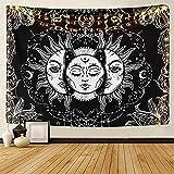Tarot-Wandteppich Sonne und Mond Psychedelische Tapisserie Schwarz Himmlisch Wandbehang Wandteppiche indisch Mandala Bohemien Hippie Strand werfen (A-Sonne und Mond, L/148cmx200cm)