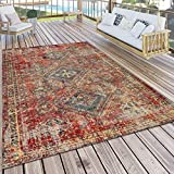 Paco Home Teppich Outdoor Rot Terrasse Balkon Orientalisches Design Robust Wetterfest, Grösse:120x170
