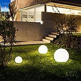 Garten-Kugelleuchten s.LUCE Globe 3er Set Aussenlampen weiß mit Spieß Ø 30 + 40 + 50 cm modern Dekolampe Kugellampe Gartenbeleuchtung Leuchte Kugel Ball G