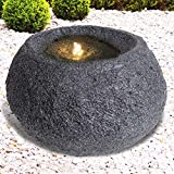 Gartenbrunnen Brunnen Zierbrunnen Zimmerbrunnen Springbrunnen Brunnen Granit-QUELLSTEIN dunkel mit LED-Licht - 230V Wasserfall Wasserspiel für Garten, Gartenteich, Terrasse, Balkon Sehr Dekorativ