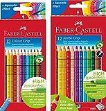 Faber-Castell - Buntstifte Colour Grip, 12er Kartonetui + 12er Kartonetui Jumbo Grip Buntstifte