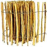 Kastanienzaun Staketenzaun aus Haselnuss in 26 Größen Höhen 50 cm - 150 cm Länge 5 / 10 Meter Zaun mit gut gespaltenen Stäben und sicheren Spitzen (Höhe: 100cm X Länge: 500cm, Lattenabstand: 7-8 cm)