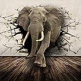 3D Tierbild Wandbild Rhino Lion Elefanten Fototapete Papier Wallpaper Kinderzimmer Sofa TV Kulisse