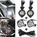 SUPAREE LED-Nebelscheinwerfer 40W 3000LM 6000K + Schutzgitter + Kabelbaum für Motorrad R1200GS F800GS F650 LC ADV 1190 1190R 1290