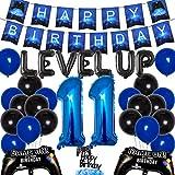 JOYMEMO Videospiel 11. Geburtstag Dekorationen für Jungen - Level up Party Supplies Alles Gute zum Geburtstag Gaming Banner Kuchen Topper Game Controller Ballons für Videospiel-Themenparty