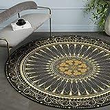 CanaDitan Rutschfester runder Teppich im Retro Boho-Ethno-Stil Schwarzes Gold 100CM
