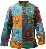 SHOPOHOLIC FASHION Männer Acid Washed Bunt Patchwork Hippie Grandad-Hemd Kurta Tops (L)