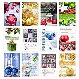Edition Seidel Set 24 (2 x 12) Weihnachtskarten mit Umschlag. Weihnachten Karte (Doppelkarten/Klappkarten mit Briefumschlag). Postkarte Weihnachtspostkarte