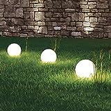 3 x LED-Solar-Außen-Garten-Kugel-Leuchte-Lampe OLA mit Erdspieß D: 20cm, IP44, Boden-Balkon-Terrassen-Treppen-Leuchte-Lampe