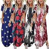 Snakell Damen Blumen Bestickt Taschenkleid, Langes Damen-Maxikleid mit Taschen, kurzärmlig, lässig, für die Freizeit, Übergröße