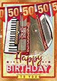 bentino Geburtstagskarte XL mit AKKORDEON-Funktion! Mit der Grußkarte 'Happy Birthday' spielen, Glückwunschkarte aus der Serie 'Great Cards', DIN A4 Set mit Umschlag, 50. Geburtstag