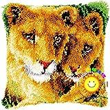 Lee My Knüpfkissen Knüpfkissen Zum Selber Knüpfen Sofakissen Kissen Bastelset Für Kinder Und Erwachsene Kreuzstich Stickerei DIY Set Zum Selber Knüpfen,Two Coug