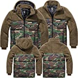 Brandit Teddyfleece Jackson Jacke + Kapuze Winterjacke Jagd Outdoor Fleecejacke, Größe:XL, Farbe:Oliv-Woodland