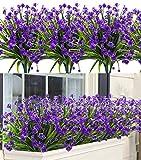 6 Stück Künstliche Blumen, Kunstblumen Balkon Unechte Deko Künstliche Pflanze Grün UV-beständige Sträucher Freien Innen für Haus Garten Fenster Blumenschmuck