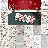 LABOTA 16 Blatt 3D Weihnachten Muster Nagel Sticker, Weihnachtsmann, Rentier, Schneeflocken Nail Sticker Nail Decals Tip Dekoration(mehr als 1000 Stück)
