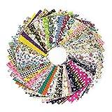AONER (100% Baumwolle) 100 Stück Patchwork Stoffe 10 x 10 cm Bunte Baumwollstoff Set Stoffpaket DIY Baumwolltuch Stoffreste Paket Stoffpakete in zufälligen Muster und Farbe