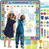 Tobeape 100 x 100 cm extra große Aqua Magic Doodle Matte, bunte pädagogische Wasserzeichnungsmatte Malmatte für Kinder Kleinkinder Jungen Mädchen Alter von 2 3 4 5 6 7 8